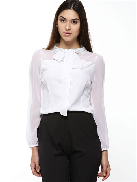 blouse with bow collar buy koovs beaded collar bow blouse in the style of