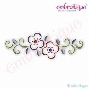 Embroitique Curly Floral Border Embroidery Design - Large