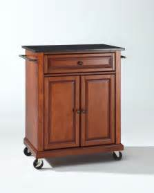 kitchen island cart crosley furniture solid black granite top portable kitchen cart island in classic cherry
