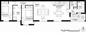 plan maison rectangulaire de plain pied 100 m2 ooreka With plan maison en longueur 1 plan maison 3d dappartement 2 piaces en 60 exemples