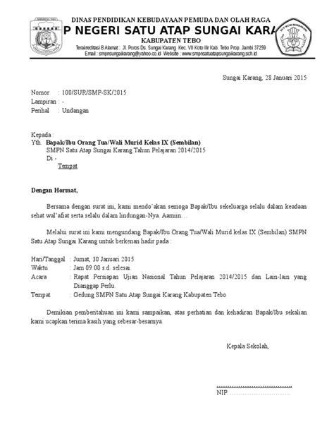 contoh surat undangan rapat untuk orang tua wali murid doc