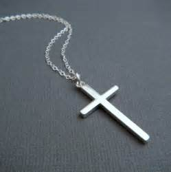metal earings silver cross necklace large sterling silver smooth modern