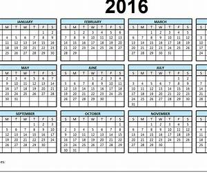 2016 single page calendar my excel templates With single page calendar template