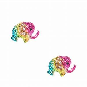 Rhinestone Elephant Stud Earrings | Claire's US