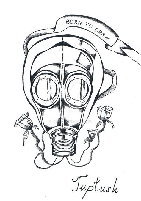 outline gas mask tattoo design  rado