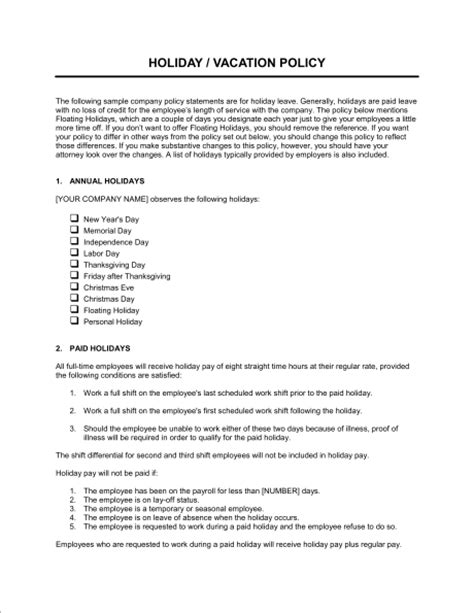 Time Off Request Policy Template by Time Off Policy Template Sle Form Biztree