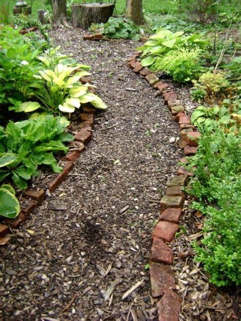 wood chip pathway backyard ideas bench