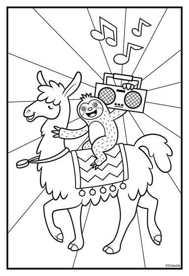 sloths love llamas boombox coloring page crayolacom