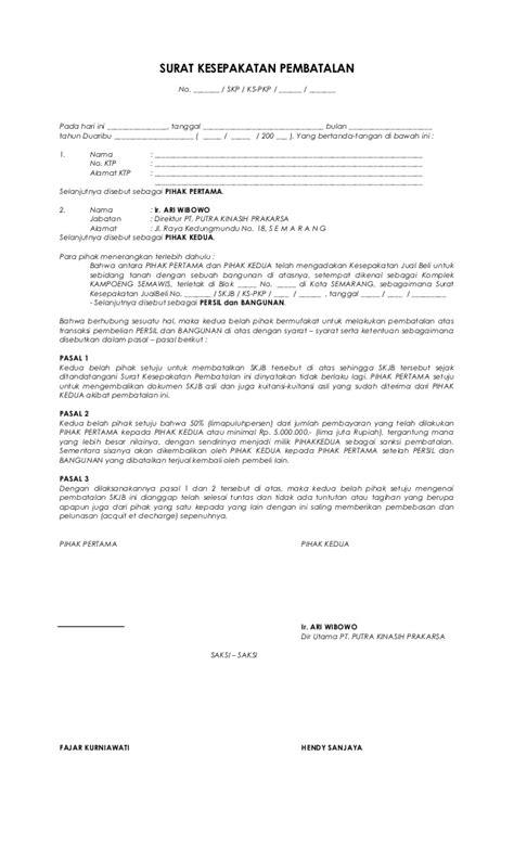 Cara Contoh Surat Pembatalan Perjanjian Kerjasama - Surat 25
