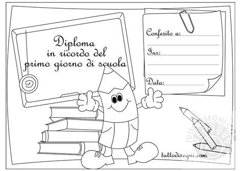 disegni bambini diplomati scuola infanzia diploma ricordo primo giorno scuola da colorare