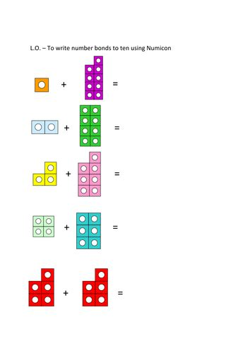 number bonds to 10 numicon worksheet by sammybusted