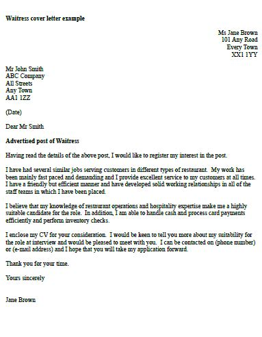 waitress cover letter  icoverorguk