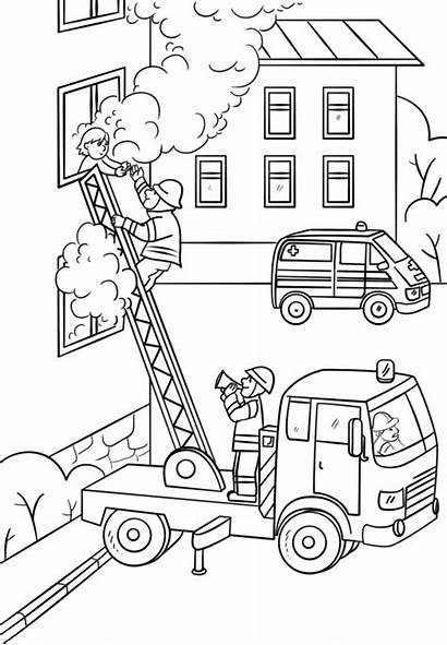 Coloring Fire Fireman Truck Ladder Pages Firefighter