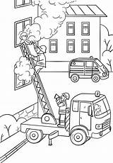 Coloring Fire Fireman Truck Ladder Pages Firefighter Fighter Climbing Drawing Save Printable Child Saving Colouring Sheets Activity Department Trucks Books sketch template