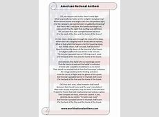 American National Anthem Lyrics Star Spangled Banner