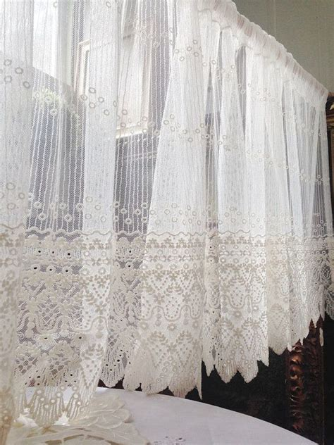 white embroidery lace valance cafe curtain  panel