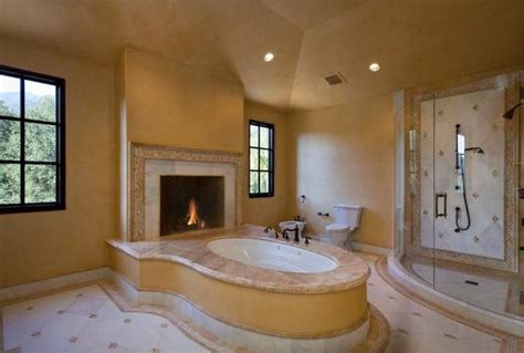 20 Beautiful Master Bathroom Designs With Fireplaces