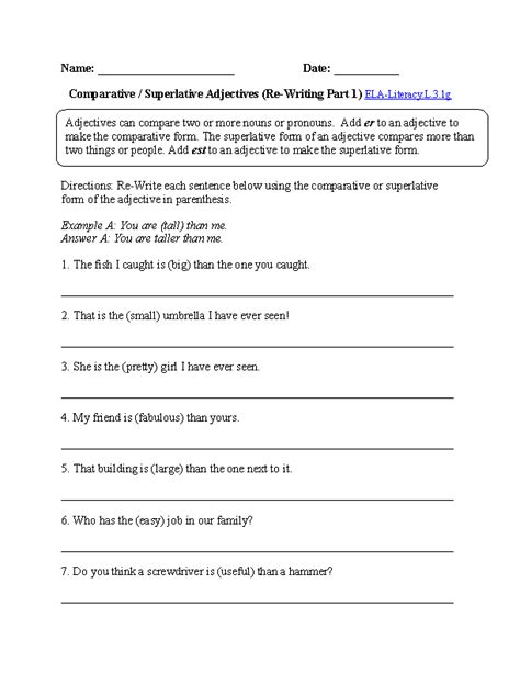 comparative and superlative adjectives worksheet 1 l 3 1