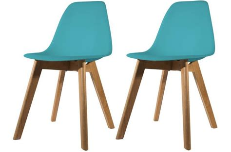 chaise bleu canard lot de 2 chaises scandinave coque bleue canard