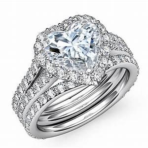 engagement ring heart shape halo pave bridal set in 14k With heart shaped wedding rings bridal set