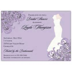 wedding shower invitations gown lilac bridal shower invitations paperstyle