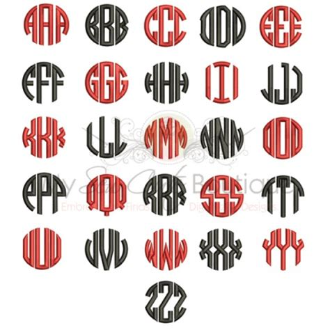 circle monogram embroidery font  machine embroidery font    sizes
