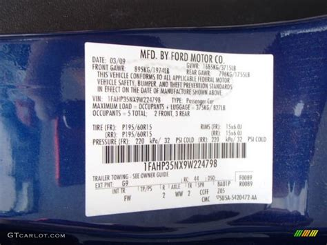 2009 ford focus paint codes