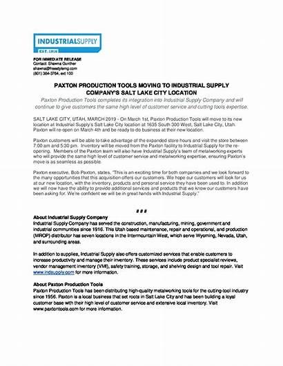 Press Release Paxton Move Company
