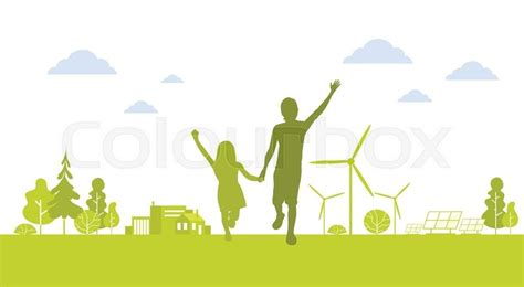 green silhouette eco city flat vector stock vector image silhouette happy boy run holding green city Beautiful