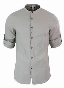 Chemise Sans Col Homme : chemise l g re sans col homme en lin pour plage vacances ~ Louise-bijoux.com Idées de Décoration