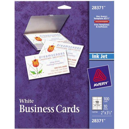 Avery Template 28371 Business Cards by Avery R Matte Business Cards For Inkjet Printers 28371