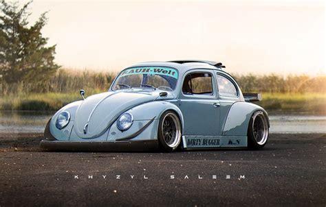 oboi asfalt reka bereg avtomobil rwb vw beetle rauh