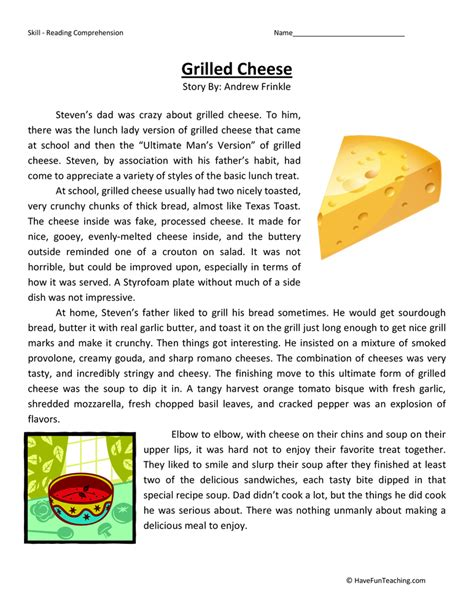 Grilled Cheese  Reading Comprehension Worksheet