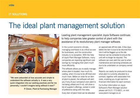 plant manager construction plant hire software