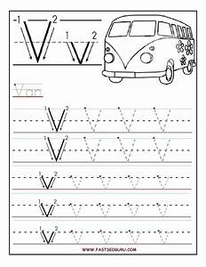 printable letter v tracing worksheets for preschool With traceable letters for crafts