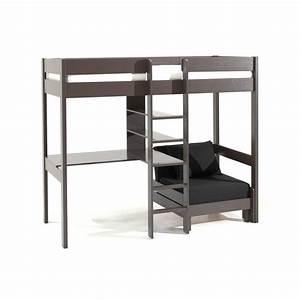 Lit 1 Place Mezzanine : lits chambre literie lit mezzanine avec fauteuil pluton en pin vernis taupe inside75 ~ Melissatoandfro.com Idées de Décoration