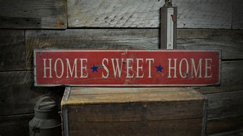 Primitive Home Sweet Sign Rustic Hand Made Vintage
