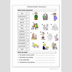 Vocabulary Matching Worksheet  Elementary 22 (family) Worksheet  Free Esl Printable