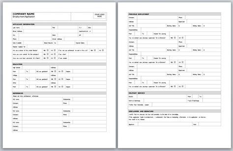 employment application template employment application form