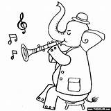 Clarinet Elephant Coloring Playing Thecolor Results sketch template