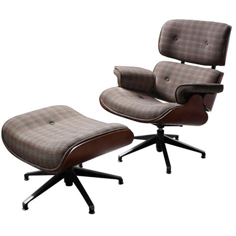 harris check fabric eames with footstool