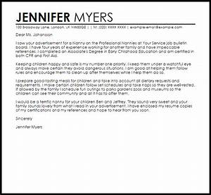 sample cover letter for a nanny position livecareer With applying for a nanny position cover letter