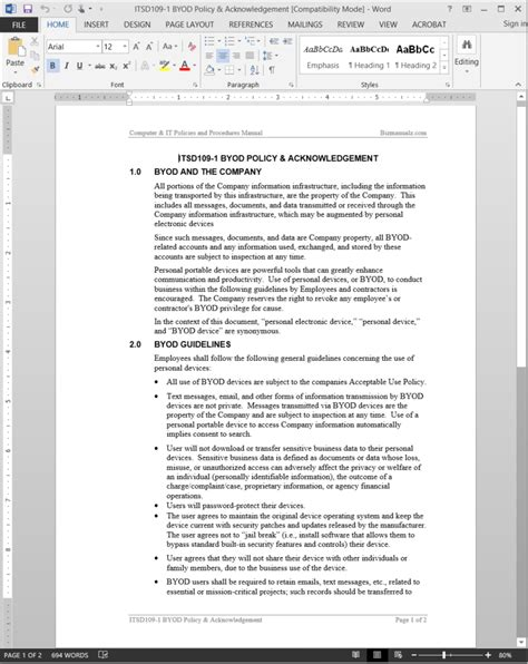 byod policy acknowledgement template itsd