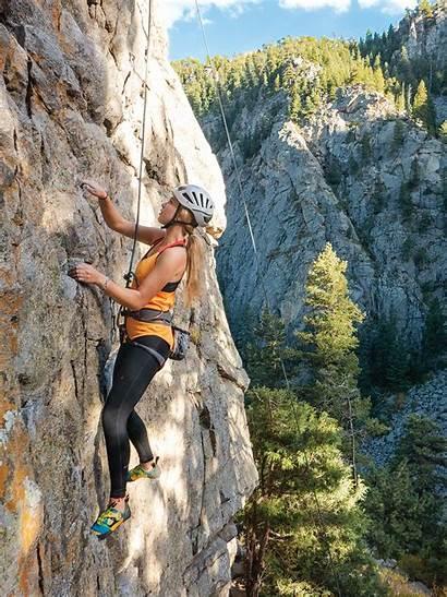 Climbing Rock Colorado Guide Chris Woman Weidner