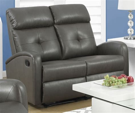 Gray Reclining Loveseat by 88gy 2 Charcoal Gray Bonded Leather Reclining Loveseat