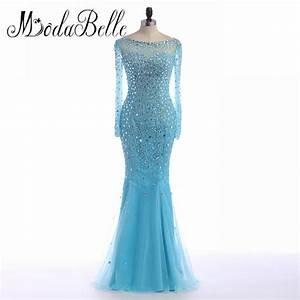 Aliexpress.com : Buy Ice Blue Mermaid Long Sleeve Prom ...