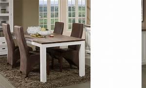 Table A Manger Blanc Et Bois : table manger couleur blanc et marron en bois massif contemporain horus ~ Teatrodelosmanantiales.com Idées de Décoration