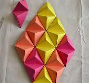 Wall art ideas design diamond shaped d paper