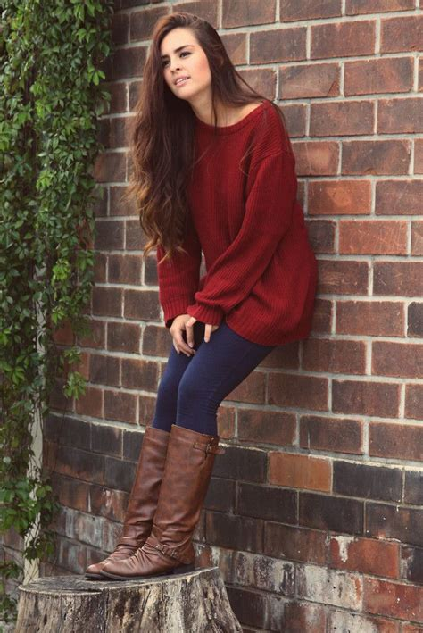 red sweater  jeans  brown boots pictures
