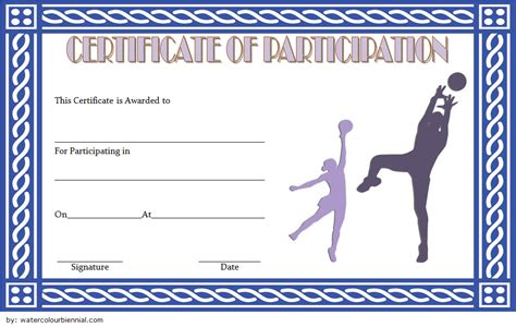 netball participation certificate templates